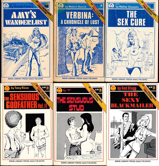 Soho Library Press (6 vintage adult paperbacks, 1972-73)