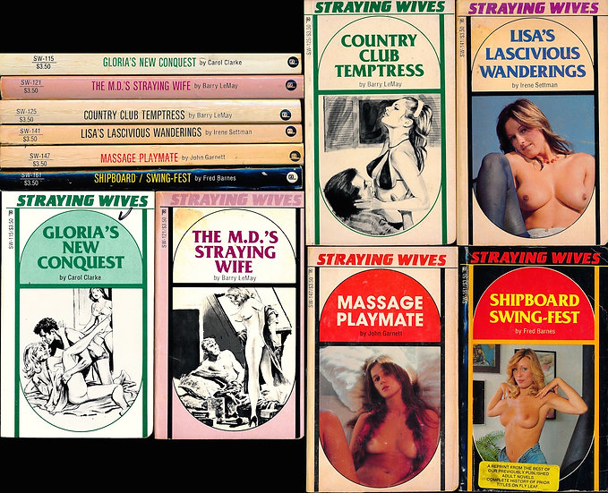 Straying Wives (6 vintage adult paperbacks, 1984-85)