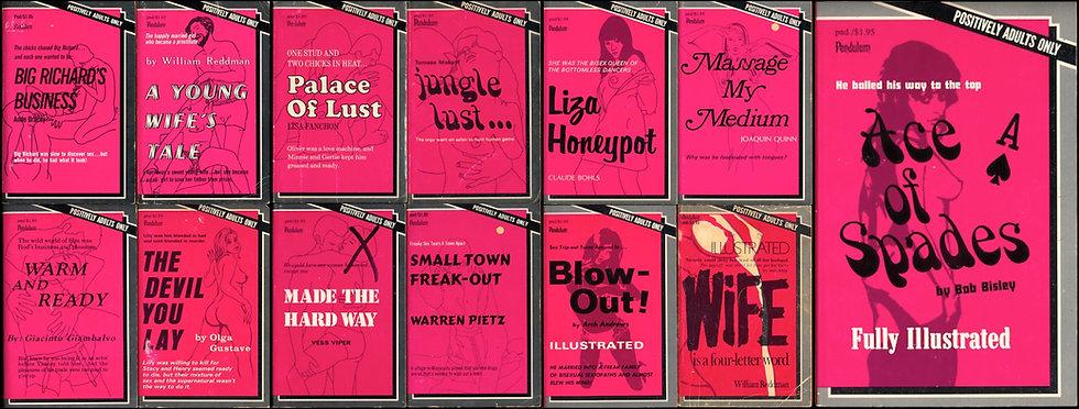 Pendulum Books: illustrated pink series (13 vintage adult paperbacks)