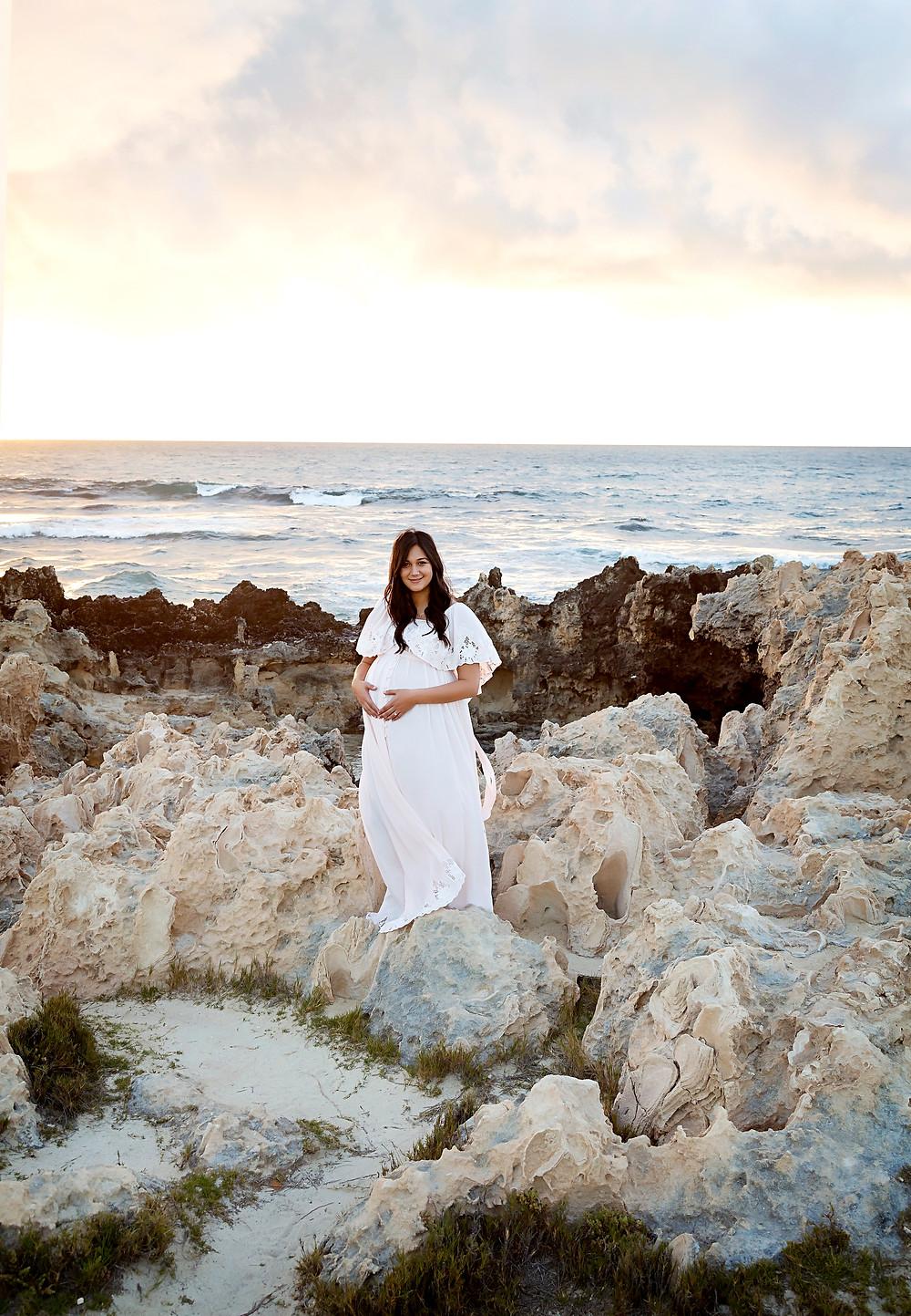 Maternity photo beach glowing