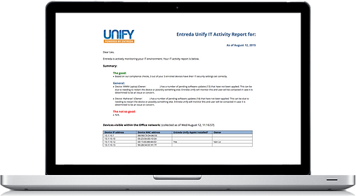 Entreda Unify IT activity report