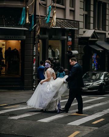Bride and groom, city wedding nz