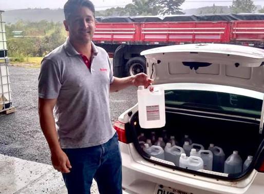 Governo recebe da Resicolor Tintas a doação de álcool 70%