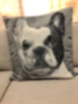 Coussin chien buuldog Forcalquier