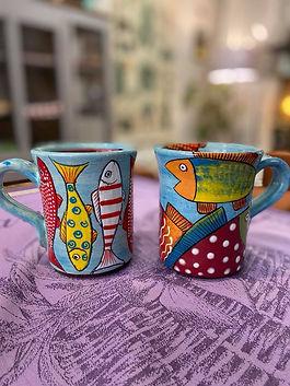 Mug poisson poterie deco forcalquier alpes de haute provence 04