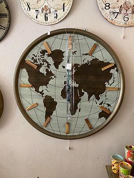 Horloge murale mappemonde déco forcalquier