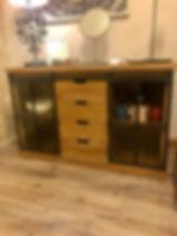 Buffet fer et bois quatre tiroirs portes coulissante déco meuble 04 Forcalquier