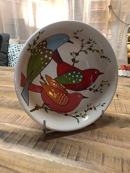 Saladier oiseaux poterie Forcalquier