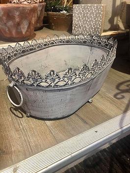 Jardinière en fer gris dentelée Clayre&Eef déco forcalquier