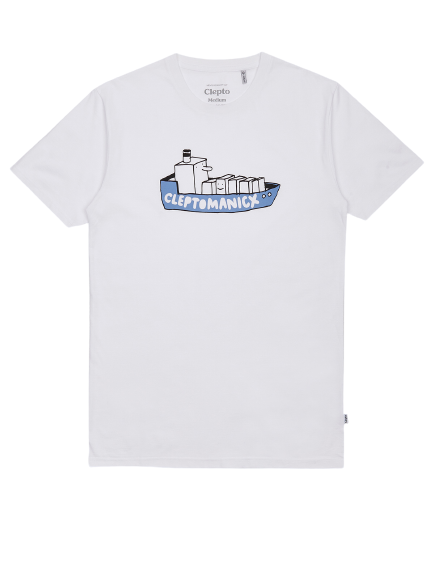 Cleptomanicx Tee All In One Boat White
