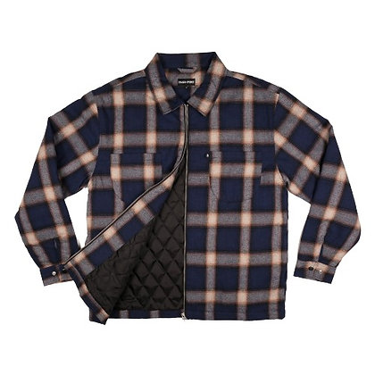 Pass~Port Quilted Zip Up Flannel Jacket Navy