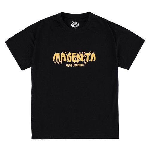 Magenta 4D Script Tee Black
