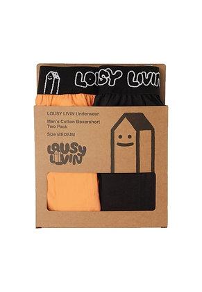 Lousy Livin Boxer Briefs 2 Pack Salmon Black