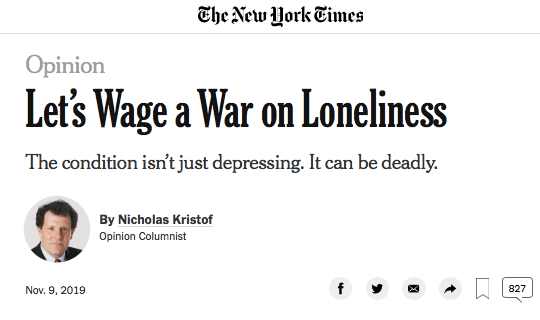 The Friendly Bench™ in The New York Times