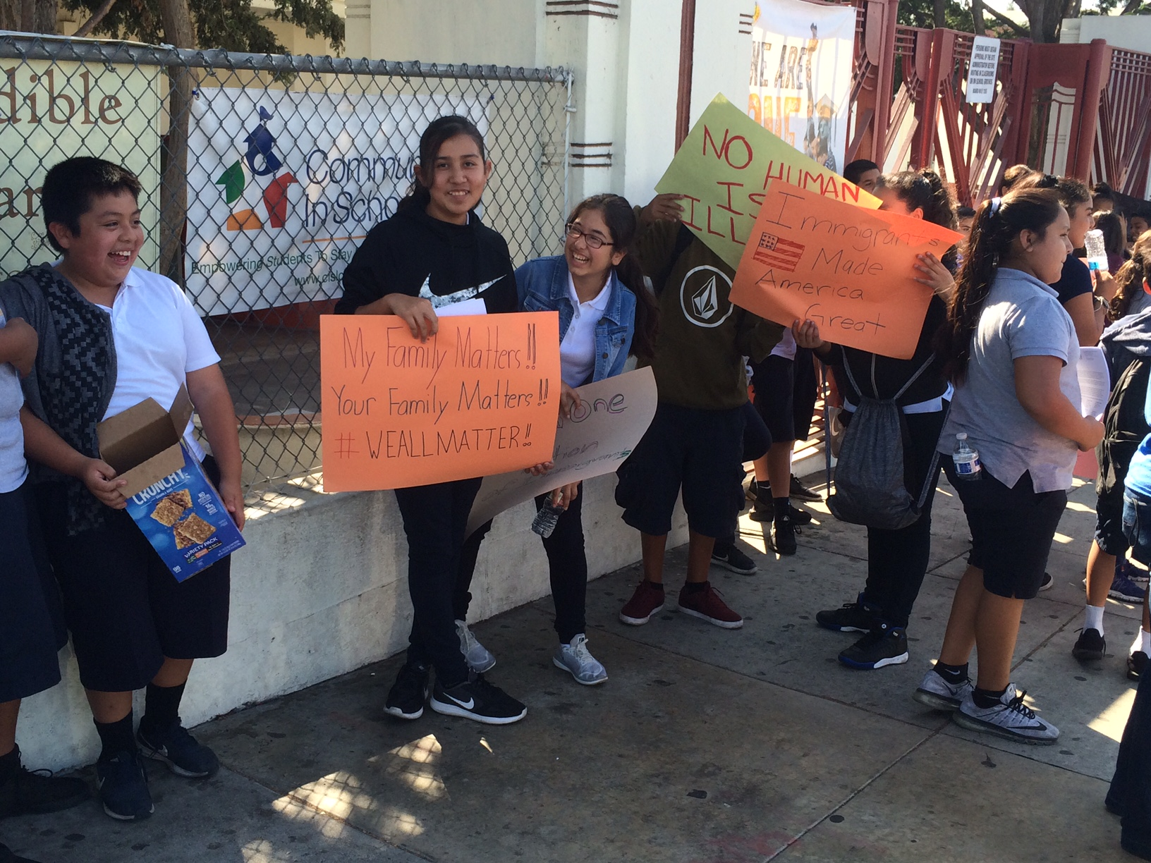 Hollenbeck students rally in front of their school