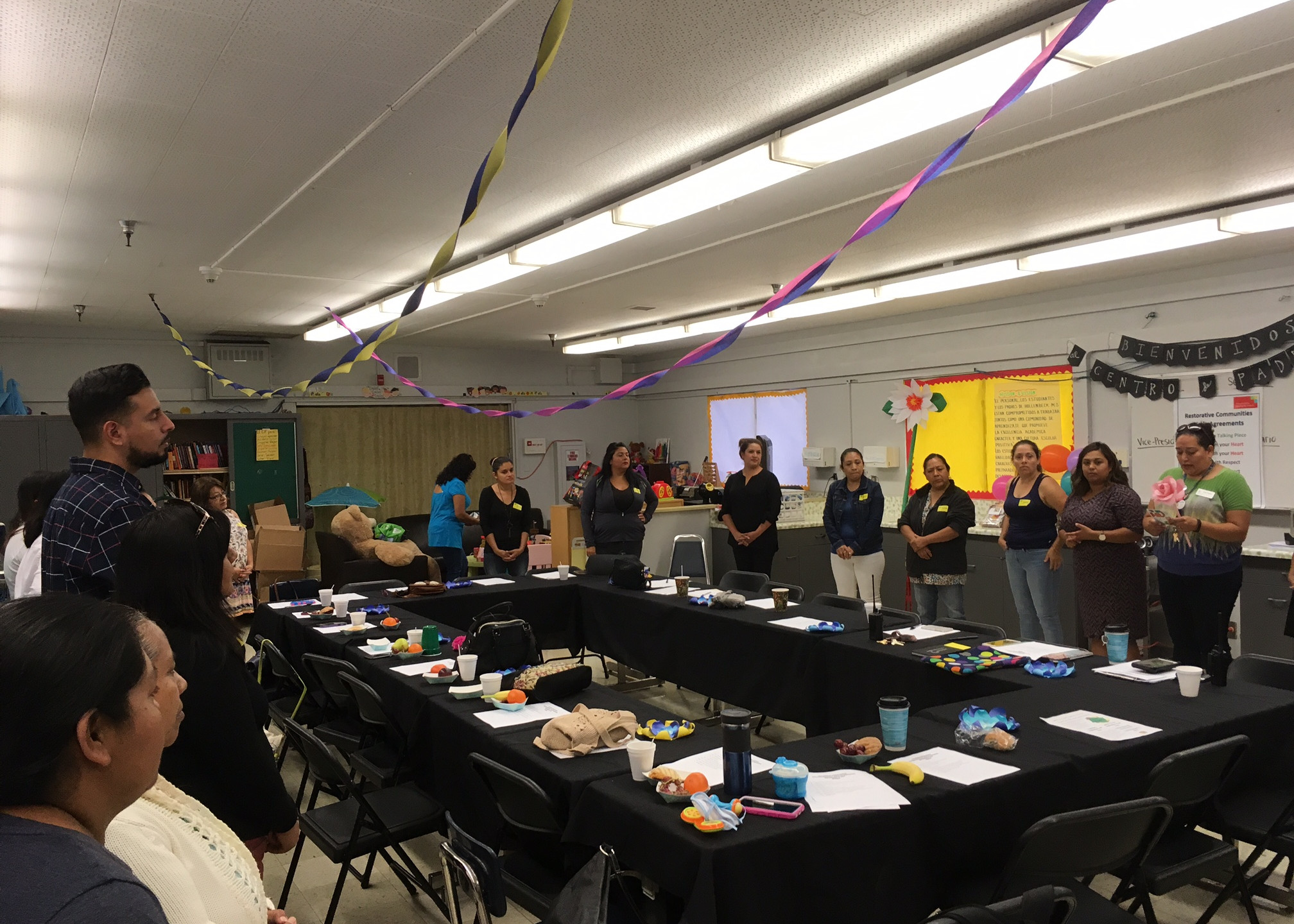 Hollenbeck parents, partners and staff gathered to have cafecito with Promesa staff and talk about the year ahead.