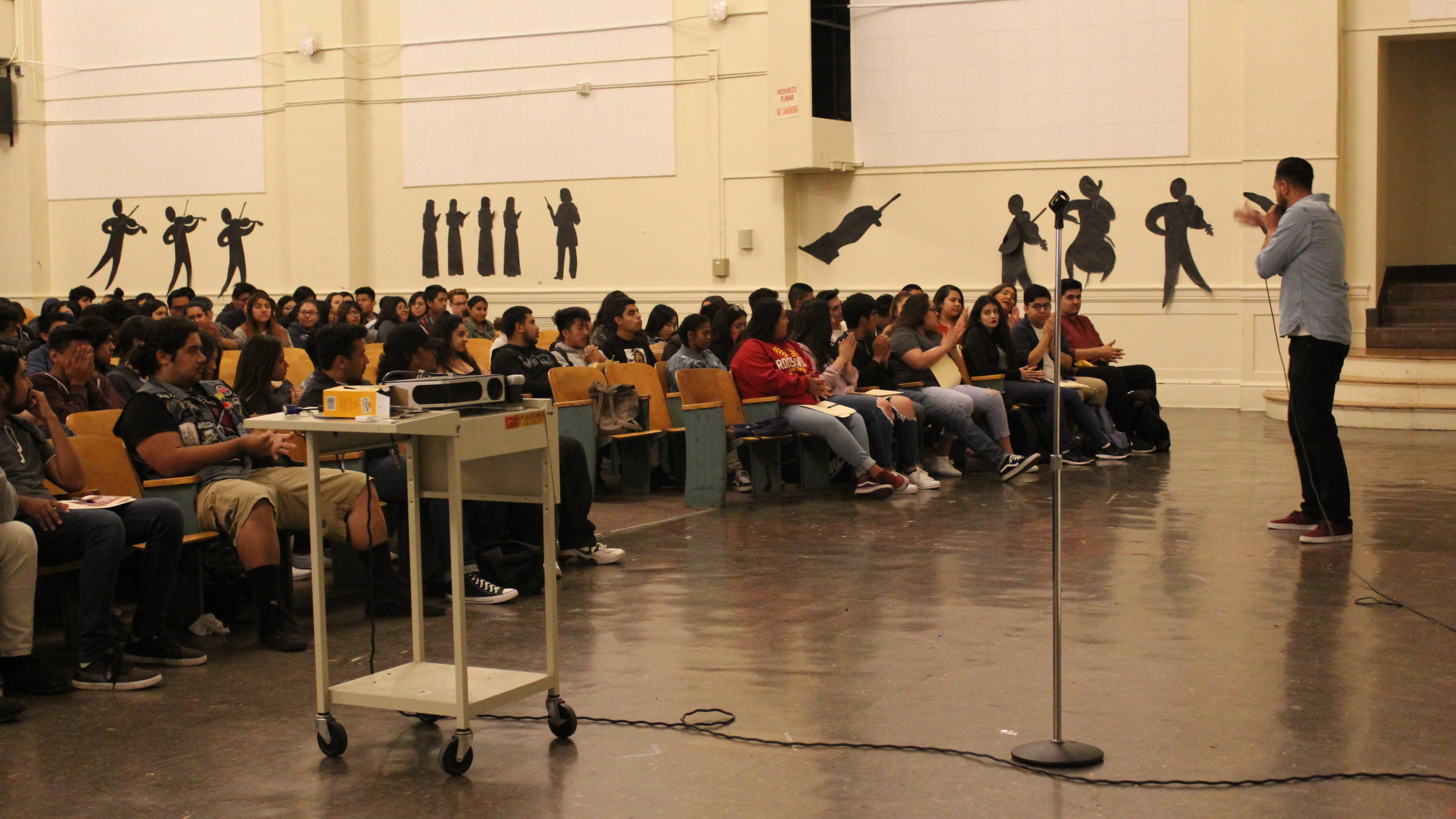 College and career coordinator, Alejandro, giving welcoming remarks.