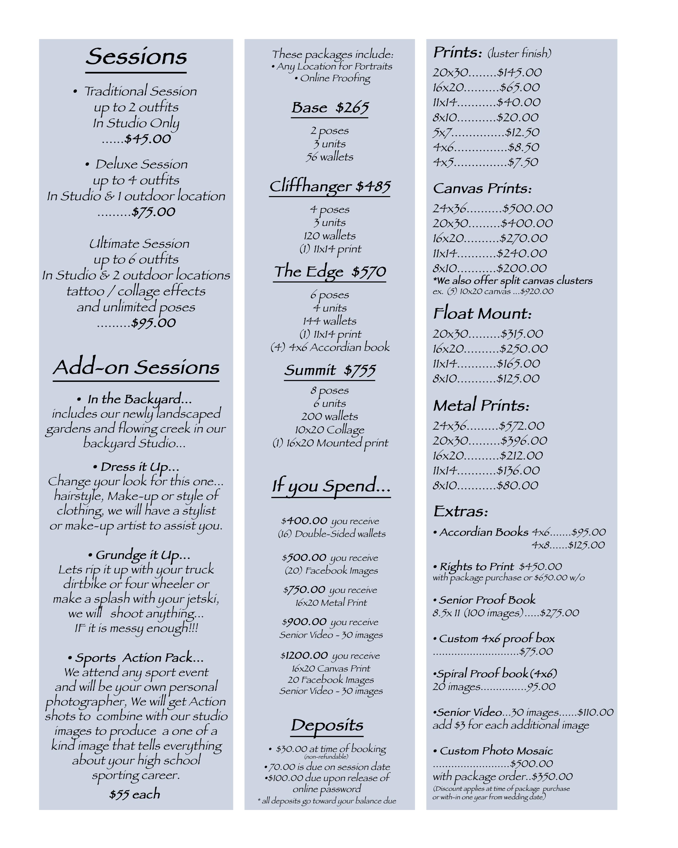 Senior Price List | Children And Newborn Photography | OnEdge
