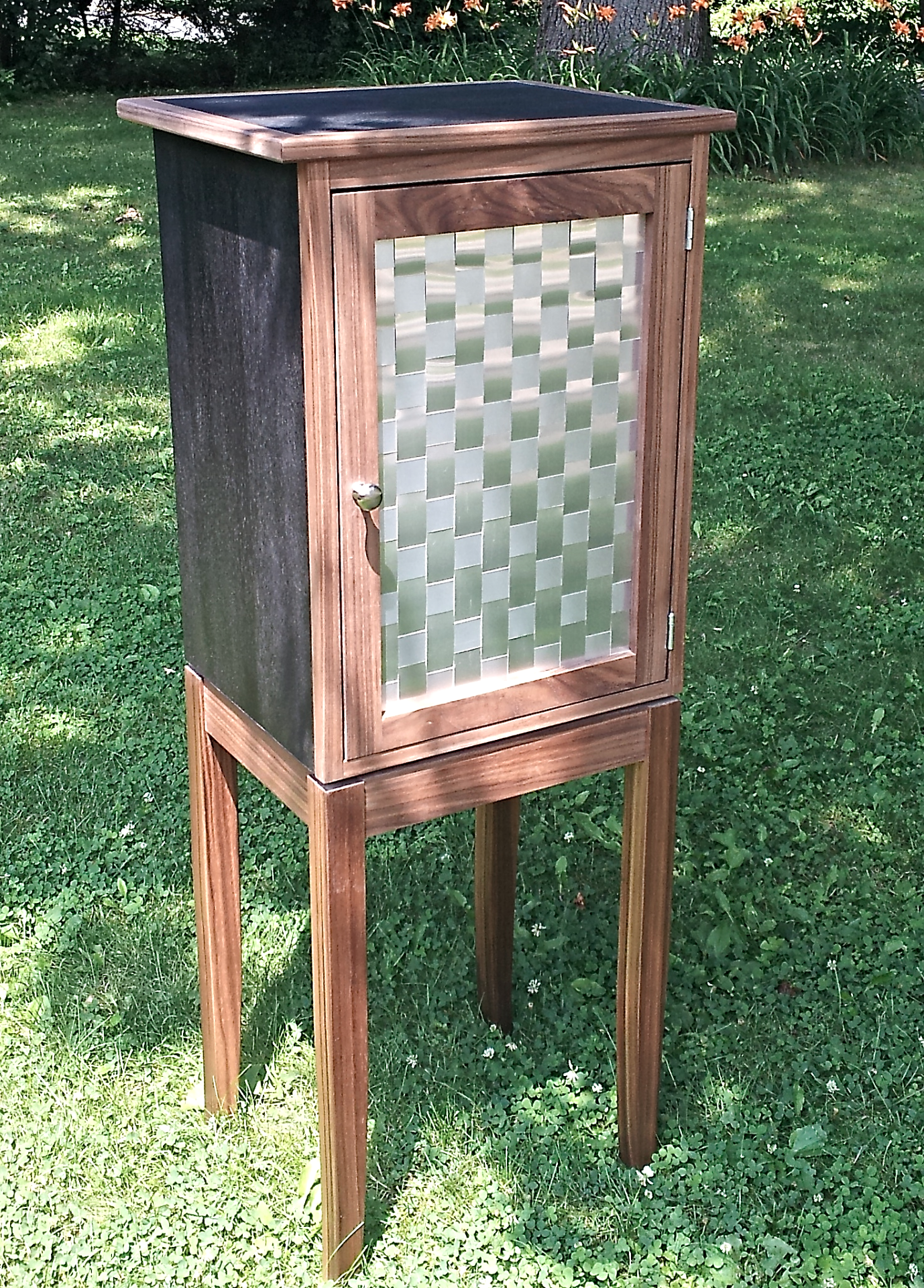 Walnut & Dyed Veneer Bar Cabinet