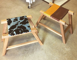 Chestnut & Leather Foot Stools