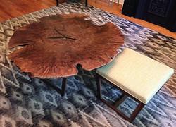 Walnut Burl Table & Sliding Ottoman