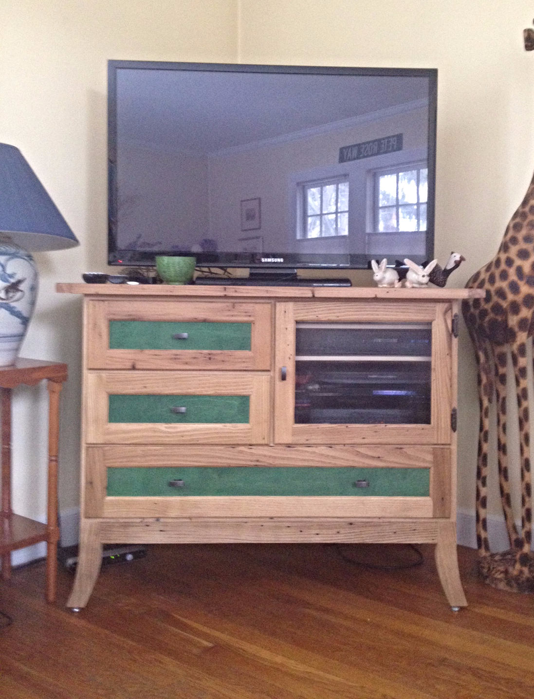 Chestnut & Dyed Veneer Media Cabinet
