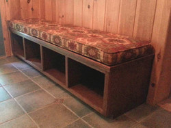 Stained oak mudroom bench