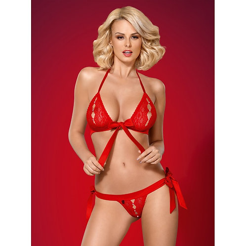 LINGERIE 2 PIECES - 822-SET-3 Rouge - OBSESSIVE