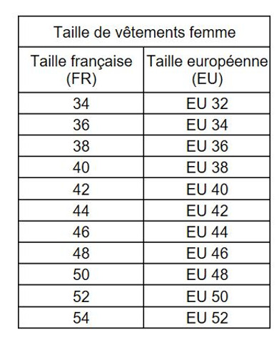 My Divine Lady Correspondance Tailles EU