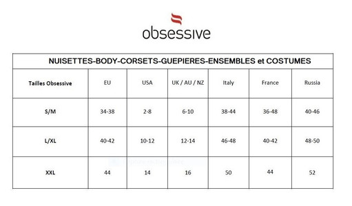 GUIDE DES TAILLES NUISETTES-BODY-CORSETS