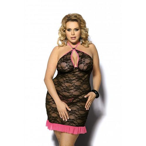 SINOPA Noir et Rose Ravissante nuisette noire en dentelle et grande taille de la marque de lingerie Anais