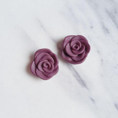 Rose Studs in Midnight Purple