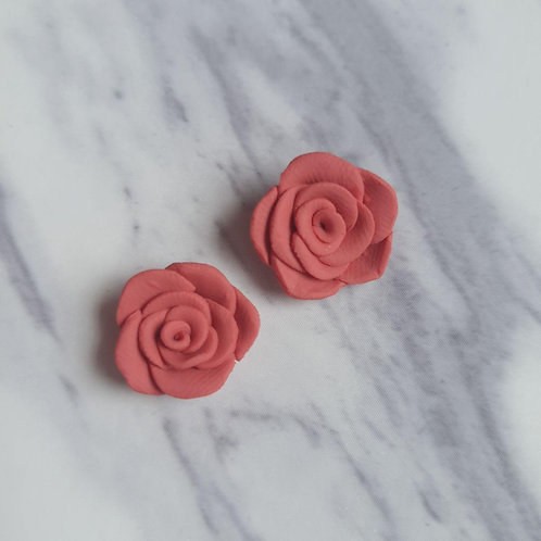 Rose Studs in Indian Red