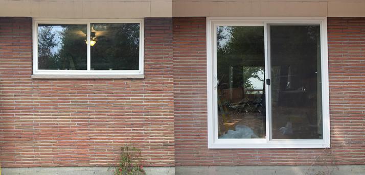 Window and brick demo / Sliding door install