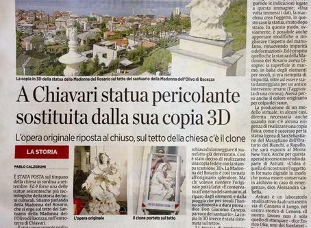 Sul tetto della chiesa una statua in 3D