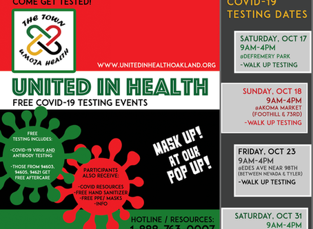 FREE COVID-19 TESTING: Umoja Health Pop-Up Events for October 2020