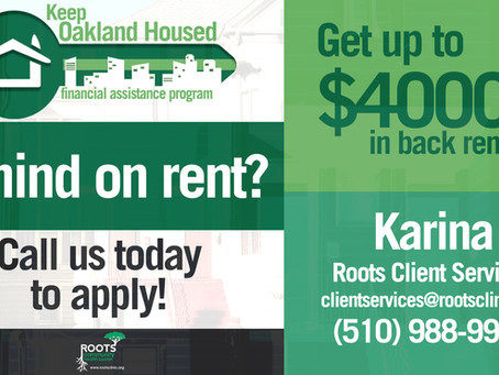 NEED HELP PAYING RENT? ONLY 2 DAYS LEFT TO APPLY FOR ROOTS CLINIC RENTAL ASSISTANCE SUPPORT!