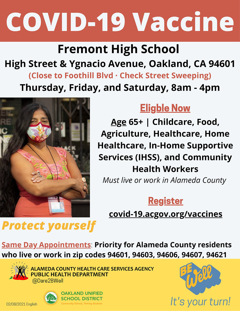Fremont High Oakland Vaccine POD English
