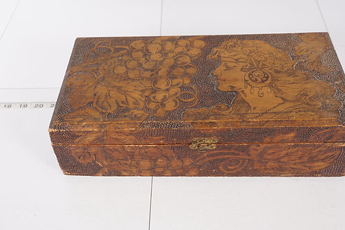 Pyrography Art - Wood Box Of A Lady
