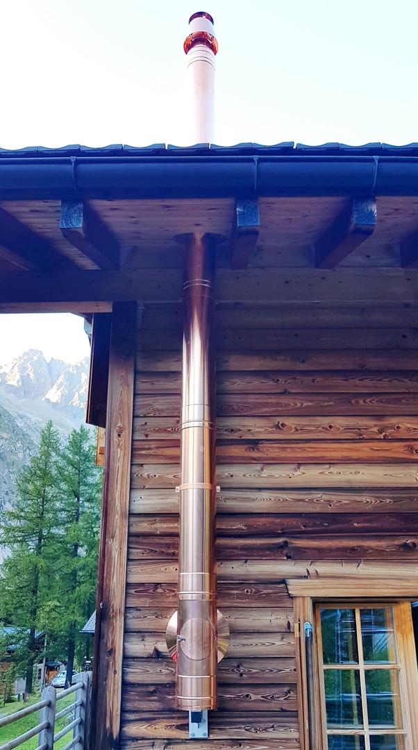 Tubage en façade cuivre