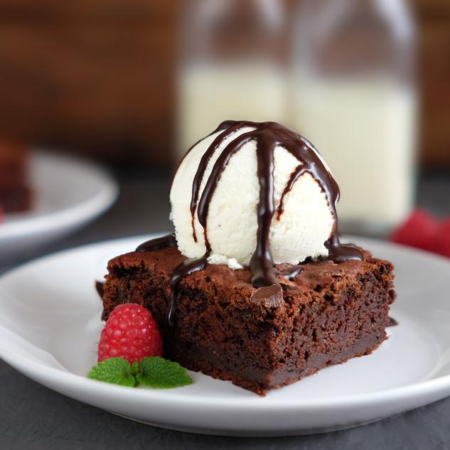 Vegan Brownie with Ice Cream