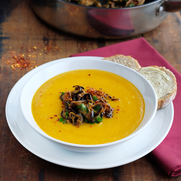 Smoked Carrot Soup with Aubergine