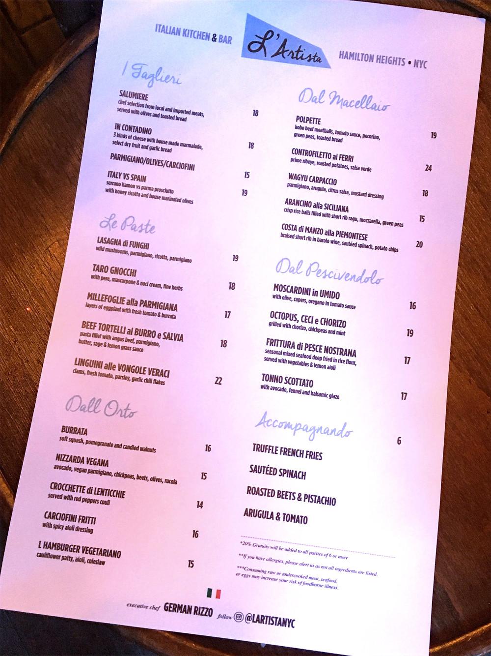The Northern Italian menu at L'Artista in Hamilton Heights