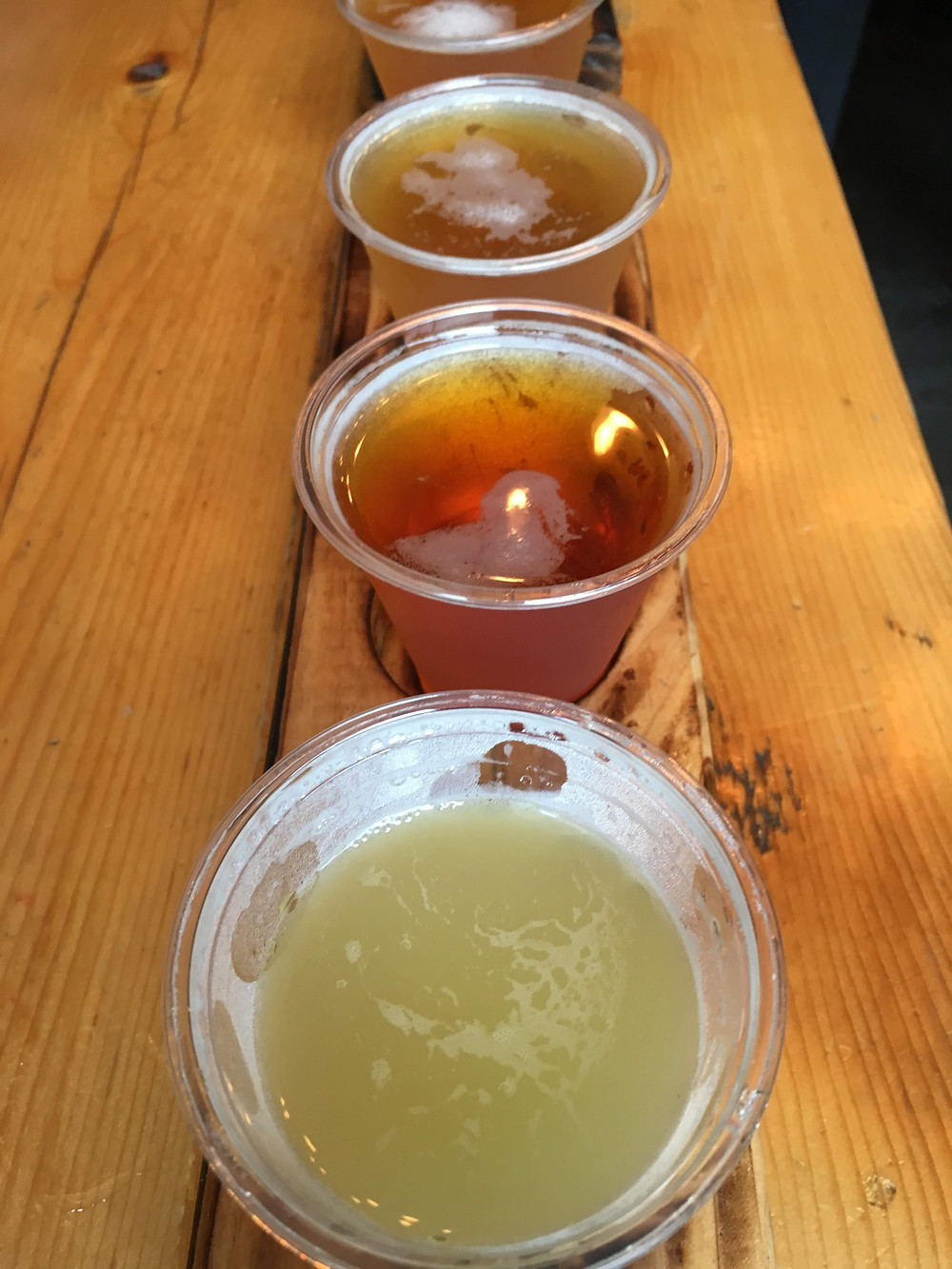 A beer flight at the Bronx Brewery