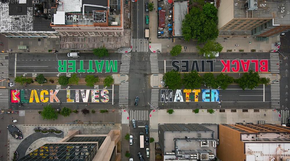 The Black Lives Matter street mural in Harlem