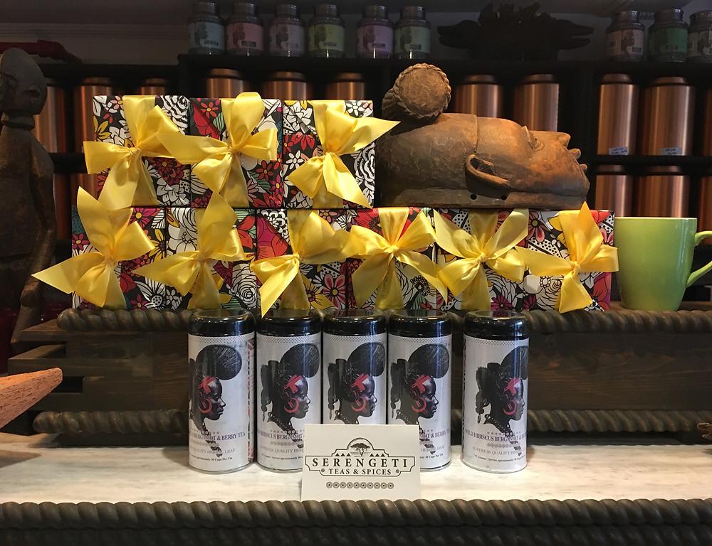 The packaged teas at Serengeti Teas & Spices on 125th Street