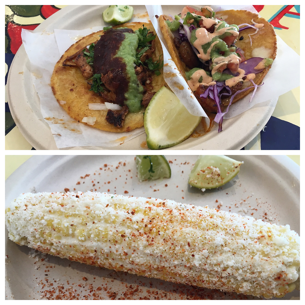 Tacos and elote at La Chula in East Harlem