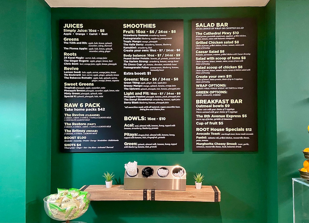 The menu at Root Juicery of Harlem