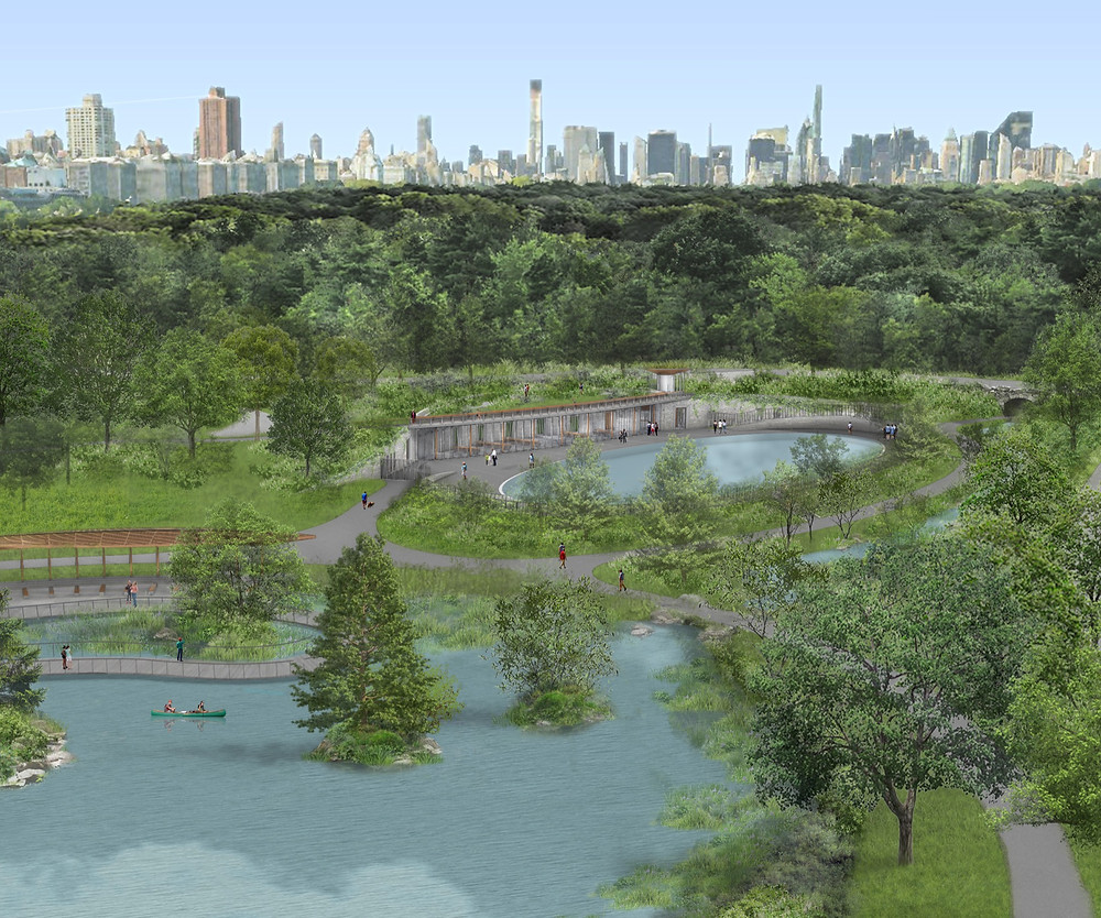Bird's-eye view of the re-envisioned north end of Central Park. Rendering courtesy of Susan T. Rodriguez Architecture