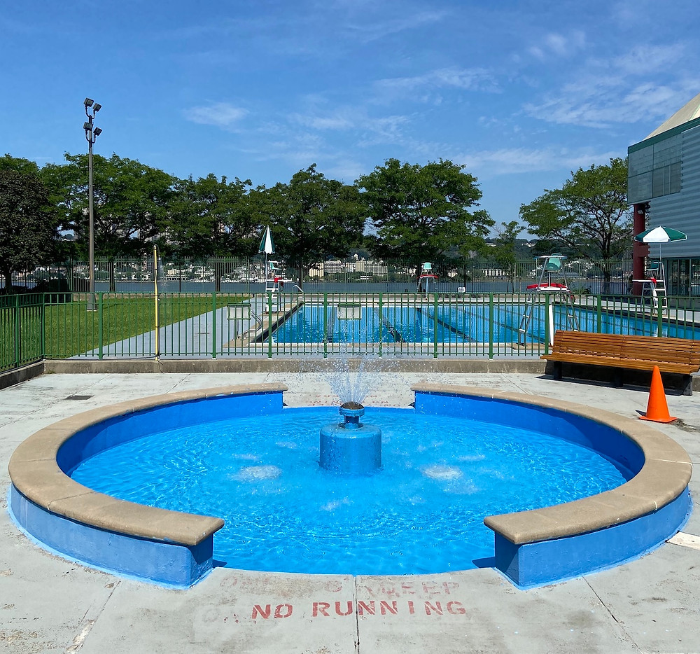 The outdoor pool at Riverbank State Park is open